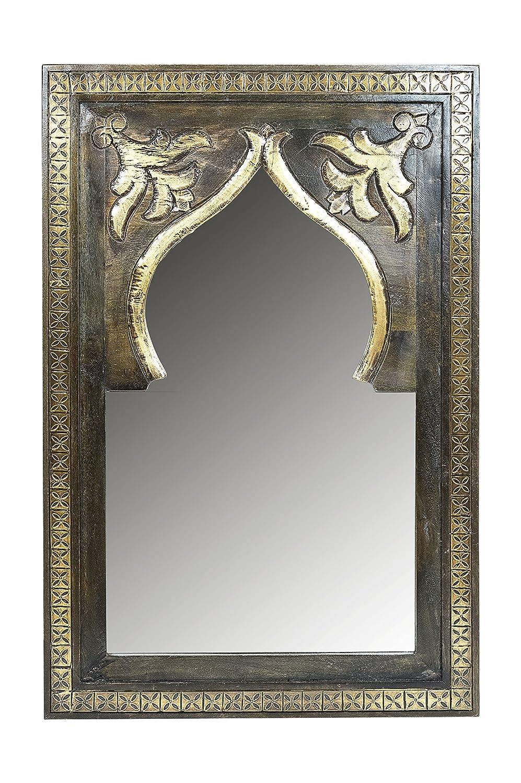 Orient Orient Orient Spiegel Wandspiegel Anugha 90cm groß Braun   Großer Marokkanischer Flurspiegel mit Holzrahmen Orientalisch Verziert   Orientalischer Vintage Badspiegel ohne Beleuchtung als Orientalische Deko 806623