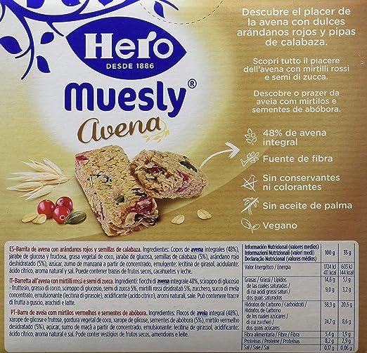 Hero Muesly Barrita de Avena con Arándanos rojos y Semillas de Calabaza - 4 Unidades: Amazon.es: Alimentación y bebidas