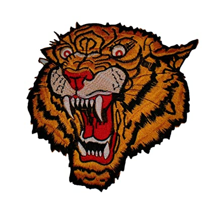 "dd1623ab42388 Image Unavailable. Image not available for. Color: 8"" Tiger Royal Head  Biker Ska Back Patch ..."