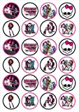 24 Monster High Edible PREMIUM THICKNESS SWEETENED VANILLA,Wafer Rice Paper Cupcake Toppers/Decorations