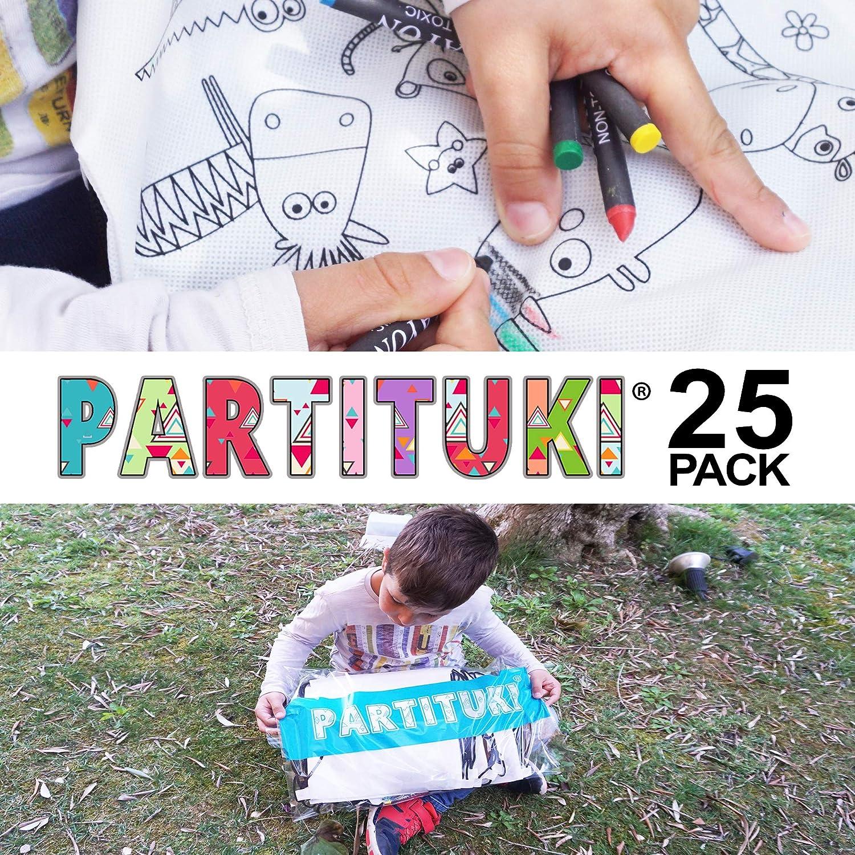Ognuno Include 5 Pastelli Colorati Partituki Lotto di 25 Zaini per Bambini da Colorare Ideale per i Regalini della Festa di Compleanno Pignata