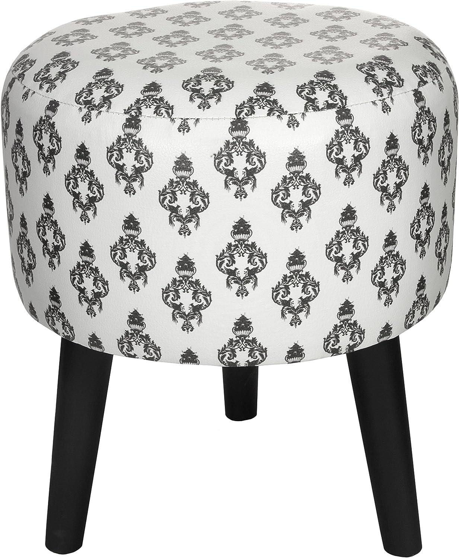 ORIENTAL Furniture White Damask Stool