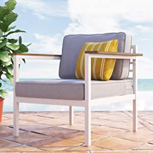 ZINUS Pablo Aluminum and Acacia Wood Outdoor Armchair with Cushions and Waterproof Cover / Weather Resistant and Rust Proof / Easy Assembly