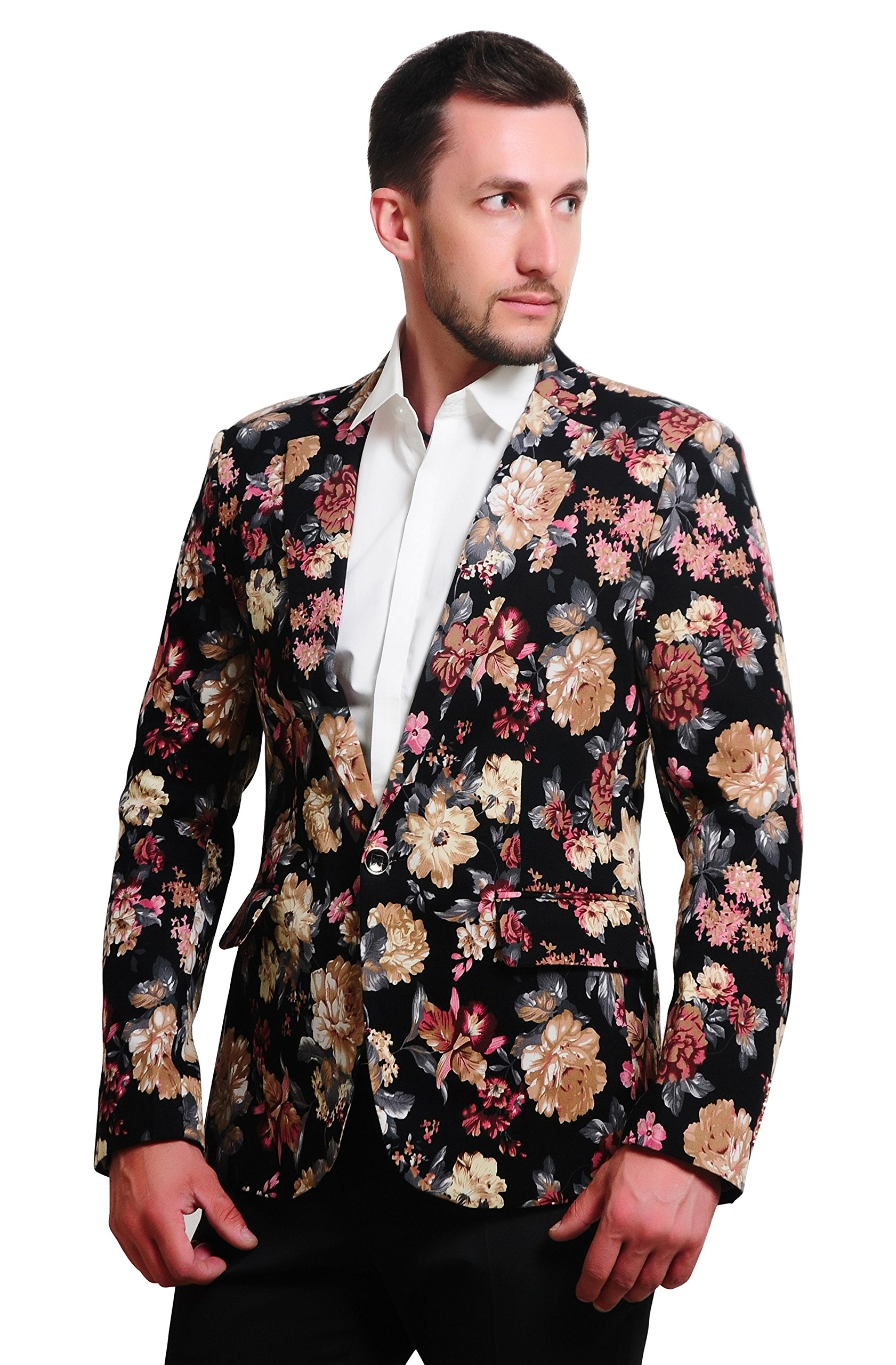 MOGU Mens 1 Button Floral Cotton Blazer Sport Coat Jacket US Size 32 Pink
