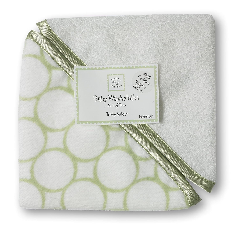 SwaddleDesigns Organic Cotton Baby Washcloths, Kiwi Mod Circles with Satin Trim, Set of 3 SD-075KW