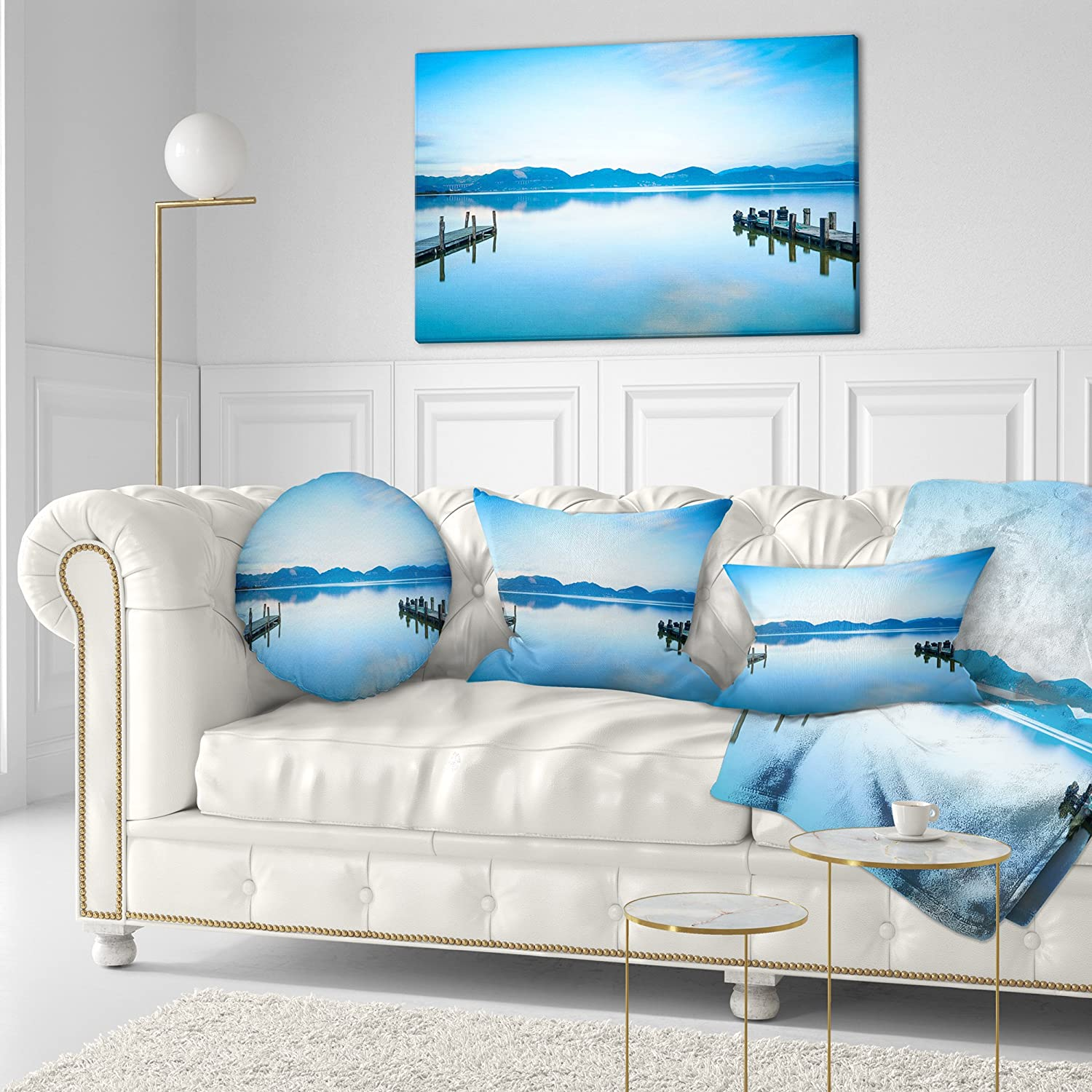 in x 20 in Sofa Throw Pillow 12 in Insert Printed On Both Side Designart CU8370-12-20 Two Wooden Piers in Blue Sea Seascape Lumbar Cushion Cover for Living Room