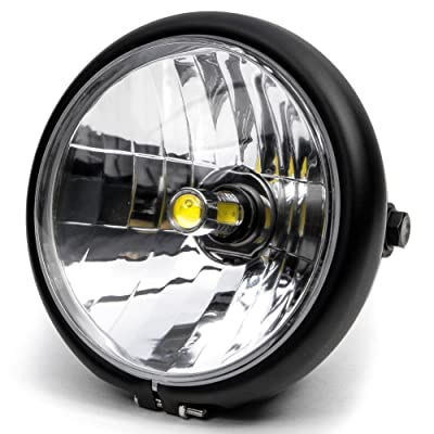 "Krator 6"" Black LED Motorcycle Headlight w/Side Mounting Running Light High/Low Beam: Automotive"