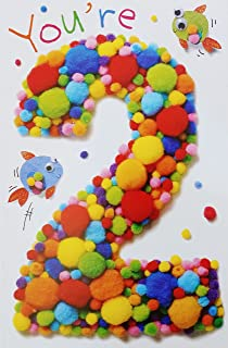 Amazon seven years old happy 7th birthday greeting card w happy 2nd second birthday greeting card two m4hsunfo
