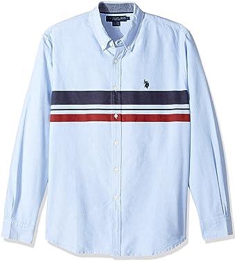 U.S. POLO ASSN. Hombre Manga Larga Camisa de Botones - Azul ...