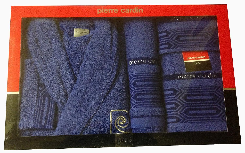 Pierre Cardin L/XL Azul Marino Blue Aztec Bloques 4 Piezas Albornoz y Toalla Juego, Jacquard, Royal, Azul con 100% algodón Funda Albornoz, ...