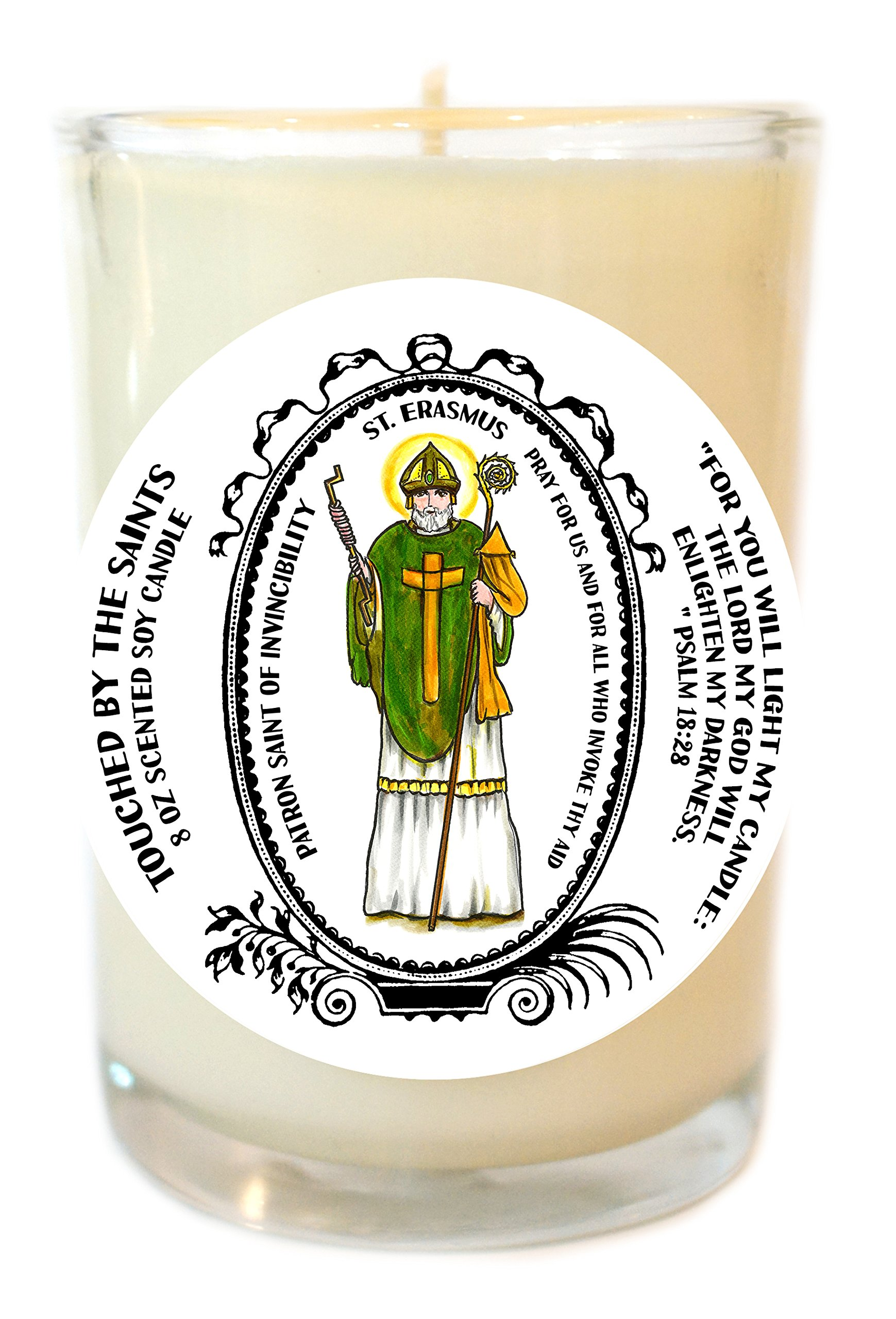 Saint Erasmus Patronof Invincibility 8 Oz Scented Soy Glass Prayer Candle