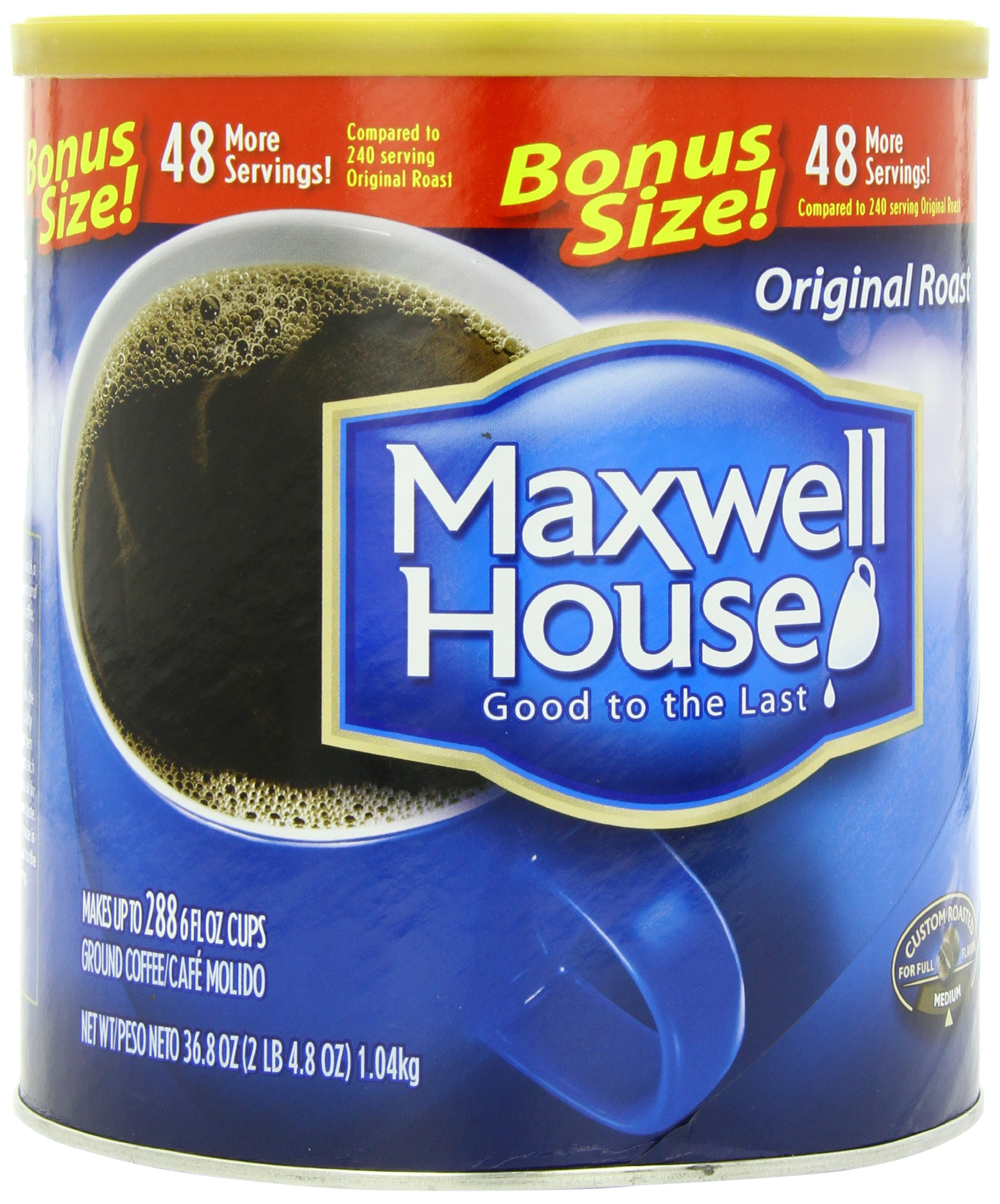 Maxwell House Ground Coffee Canister, Original Roast, 36.8 Ounce