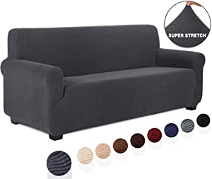 TIANSHU Jacquard Couch Cover, 1-Piece Couch Cover for Sofa, Slipcover for Living Room, Soft/Durable/Stay in Place, Sofa Cover (Sofa, Gray)