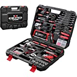 198-Piece Household Tool Set,EXCITED WORK General Home/Auto Repair Hand Tool Kit with Hammer, Pliers, Wrenches, Sockets and T
