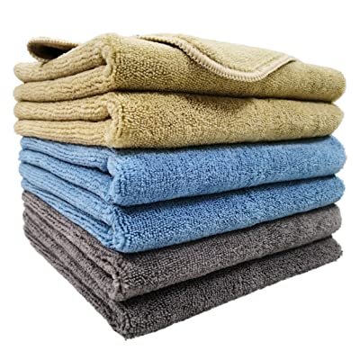 Polyte Microfiber Cleaning Towel (16x24, 6 Pack, Professional, Blue,Camel,Gray): Automotive