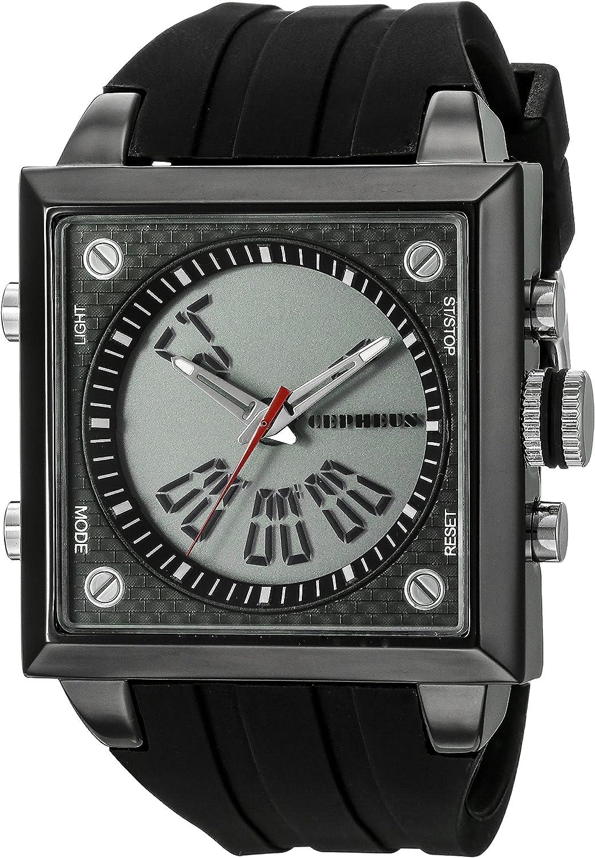 CEPHEUS CP900-622A - Reloj analógico y Digital de Cuarzo para Hombre con Correa de Silicona, Color Negro