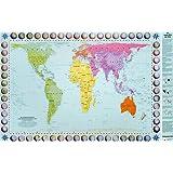 Peters Orthogonale Weltkarte Posterkarte: Die Länder der Erde in flächentreuer Darstellung. Peters-Projektion. 1 : 63.060. Flächenmaßstab 1 : 630.609.475
