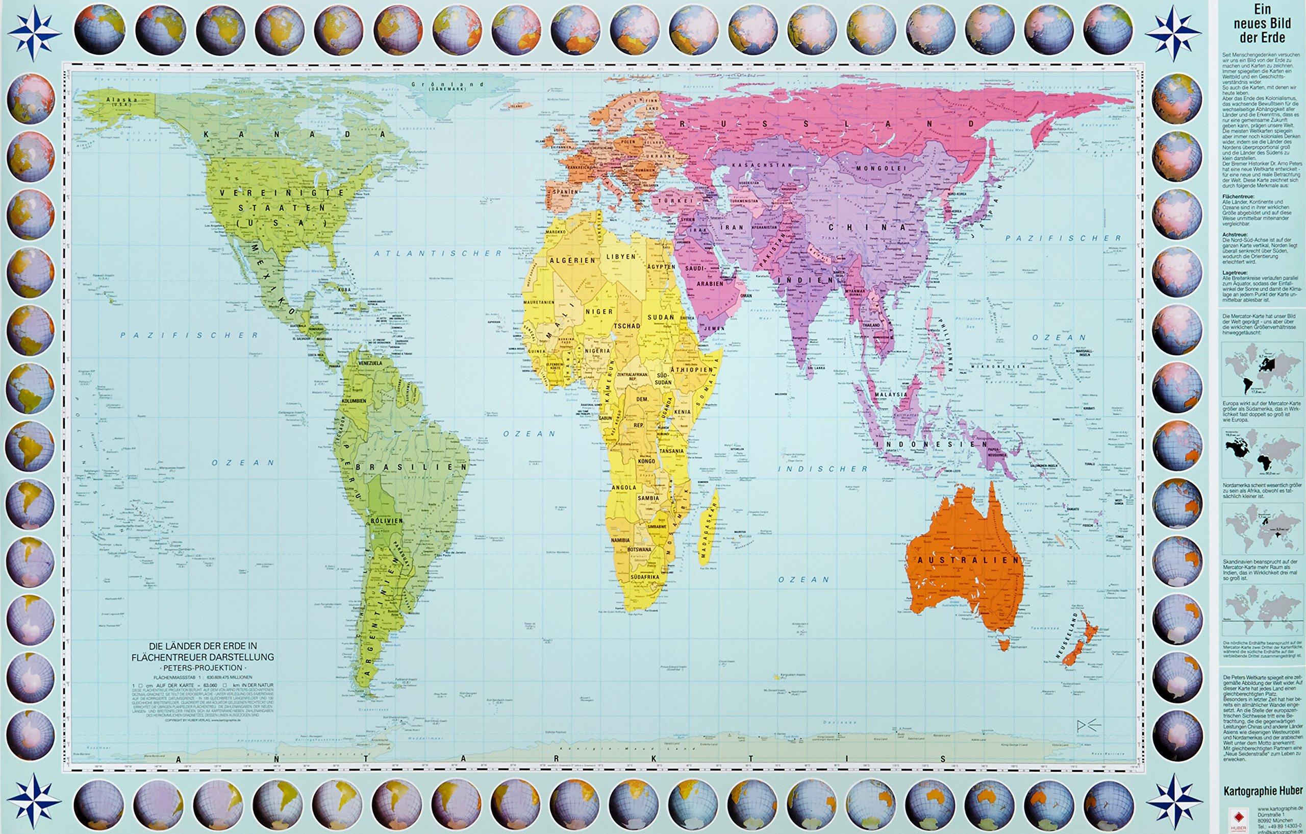 Peters Orthogonale Weltkarte Posterkarte Die Lander Der Erde In