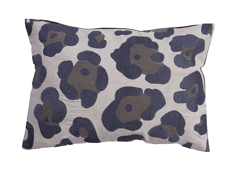 Jaipur Animal Print Pattern Gray Cotton Polly Fill Pillow 14-Inch x 20-Inch Dawn Blue NG-6