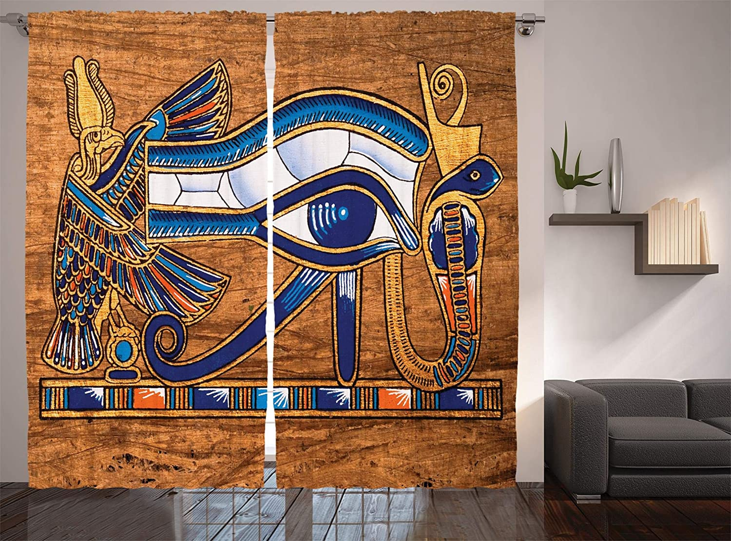 Ethnic Bedroom Drapes 2 Panel 3D Window Curtains Egypt Background Ancient Decor