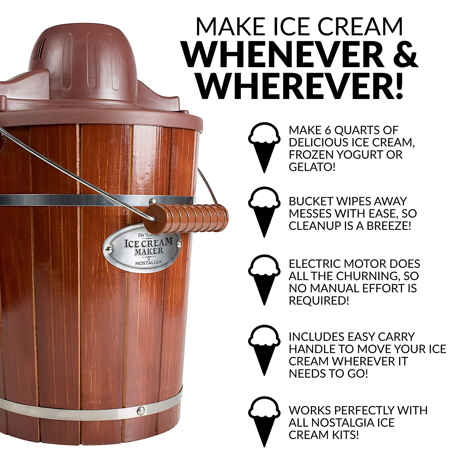 Nostalgia ICMP600WD Vintage Collection 6-Quart Wood Bucket Electric Ice Cream Maker with Easy-Clean Liner by Nostalgia