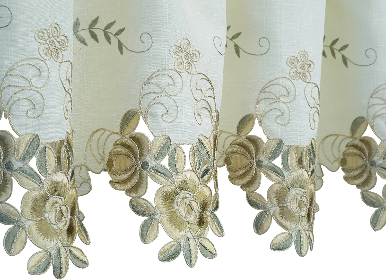 14-Inch Ecru//Antique Todays Curtain Verona Reverse Embroidery Valance