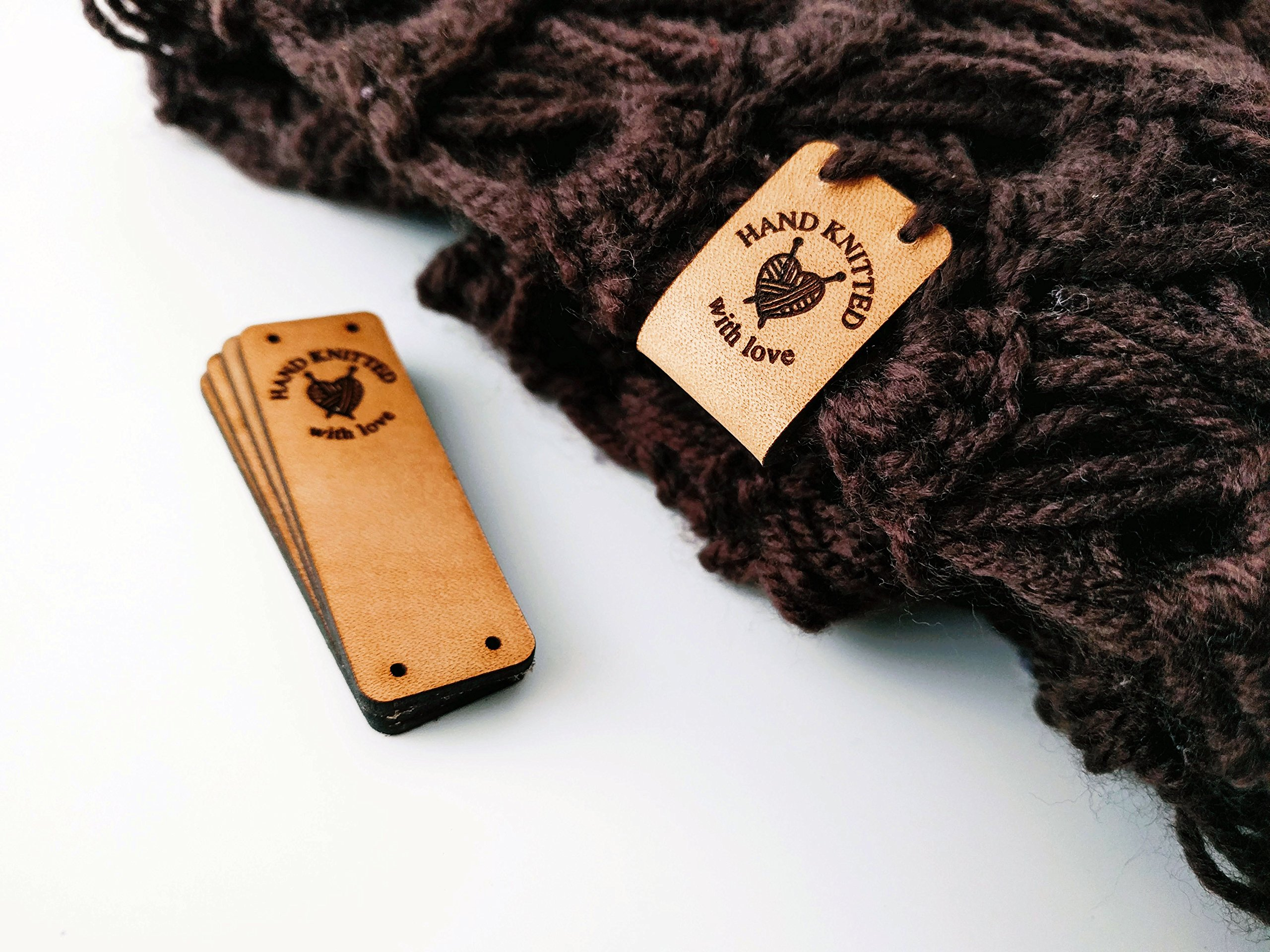 Customizable | Handmade Leather Labels O3''Hand Knitted with Love'' | 15 pcs | Exclusive Engraved Genuine Italian Leather Tags by 3DP (Image #1)