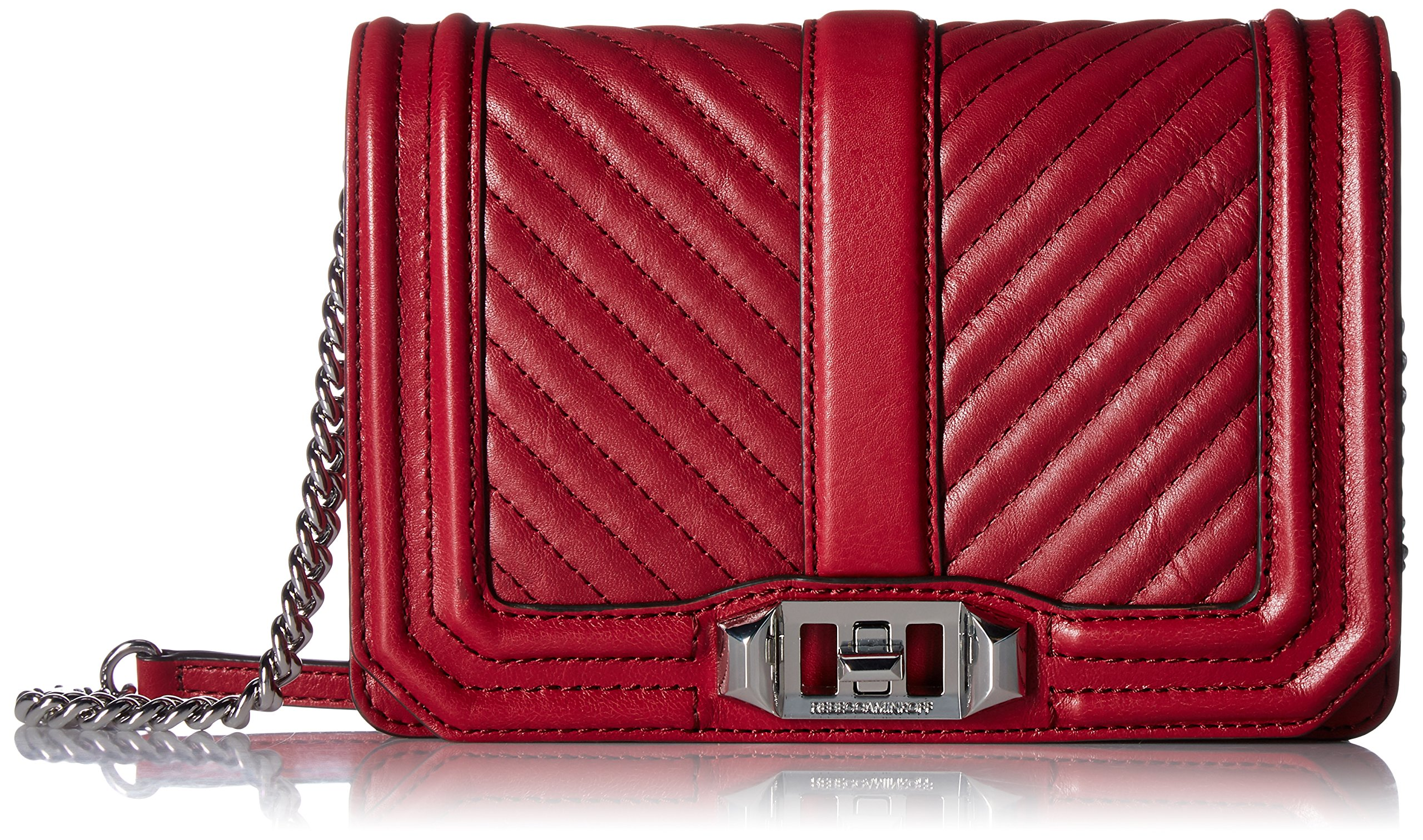 Rebecca Minkoff Chevron Quilted Small Love Crossbody, Beet