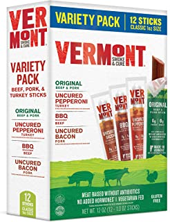product image for Vermont Smoke & Cure Meat Sticks - Antibiotic Free Beef, Pork and Turkey - Gluten Free Snack - Paleo and Keto Friendly - Classic Variety Pack 1oz Jerky Stick - 12 Count