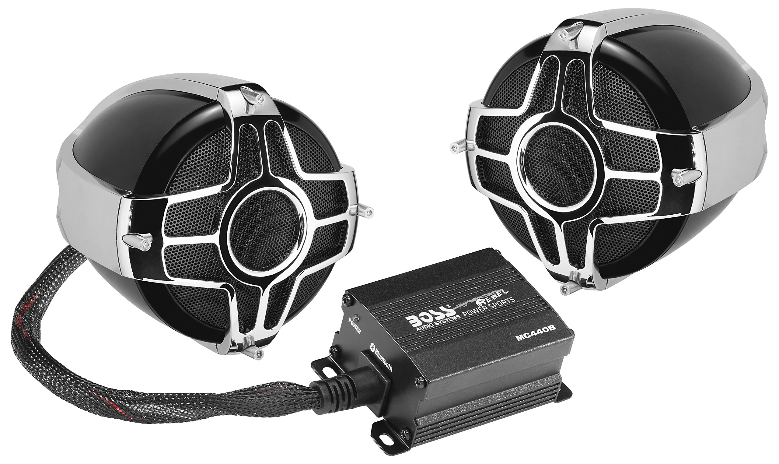 BOSS Audio MC440B Bluetooth, Weatherproof Speaker And Amplifier Sound System, Two 3 Inch Speakers, Bluetooth Amplifier, Inline Volume Control, Ideal For Motorcycles/ATV and 12 Volt Applications