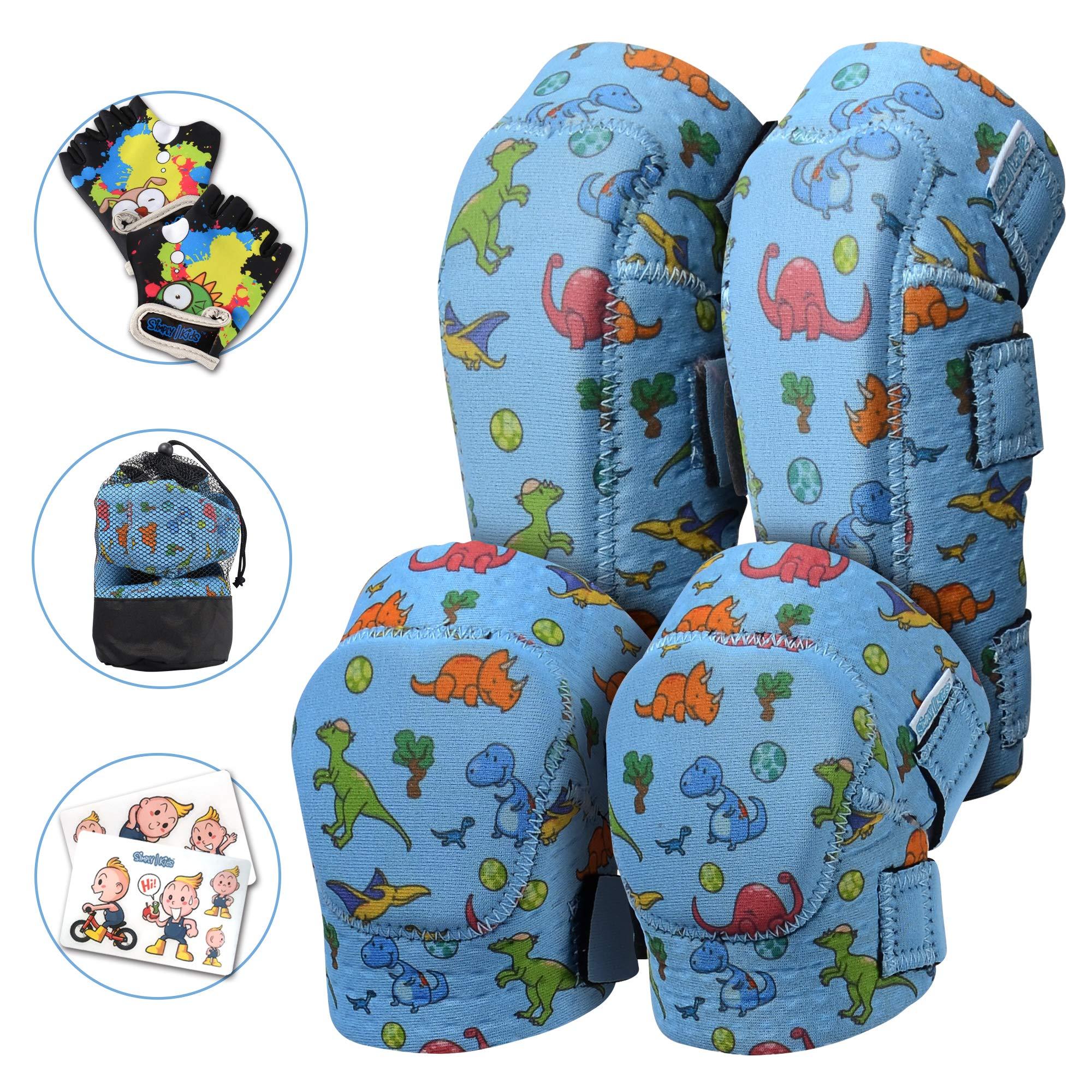 Innovative Soft Kids Knee and Elbow Pads with Bike Gloves | Toddler Protective Gear Set w/Mesh Bag | Roller-Skating, Skateboard, Bike for Children Boys Girls (Dinosaur, Medium (4-8 Years))