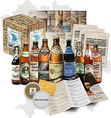 Especialidades de cerveza bávara (la mejor cerveza de Baviera) como un paquete de prueba para el regalo en caja de regalo 9x0,5l + información sobre las cervezas instrucciones de catas + suplementos +