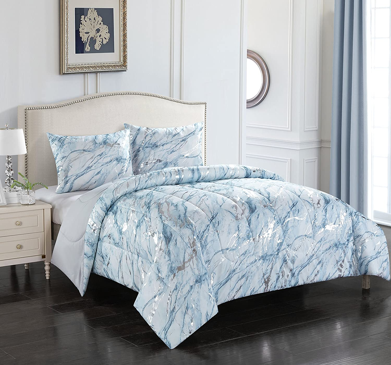 Pop Shop Marble 3 Piece Comforter Set Fullqueen Silver