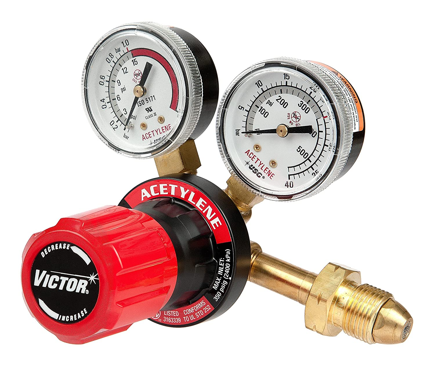 Victor Technologies 0781-9405 G250-15-510 Medium Duty Single Stage Acetylene Regulator, 15 psig Delivery Range, CGA 510 Inlet Connection