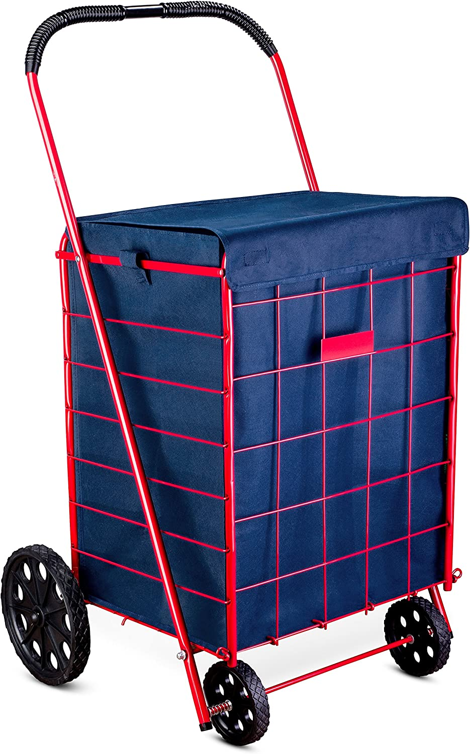 "Shopping Cart Liner - 18"" X 15"" X 24"" - Square Bottom Fits Snugly Into a Standard Shopping Cart. Cover and Adjustable Straps for Easy and Secure Attachment. Made from Waterproof Material, Navy Blue"