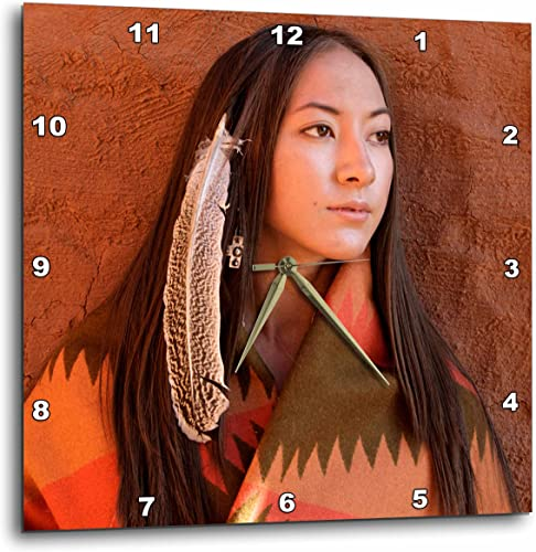 3dRose DPP_92706_1 New Mexico, Cherokee Woman, Native American-Us32 Jmr0634-Julien McRoberts-Wall Clock, 10 by 10-Inch