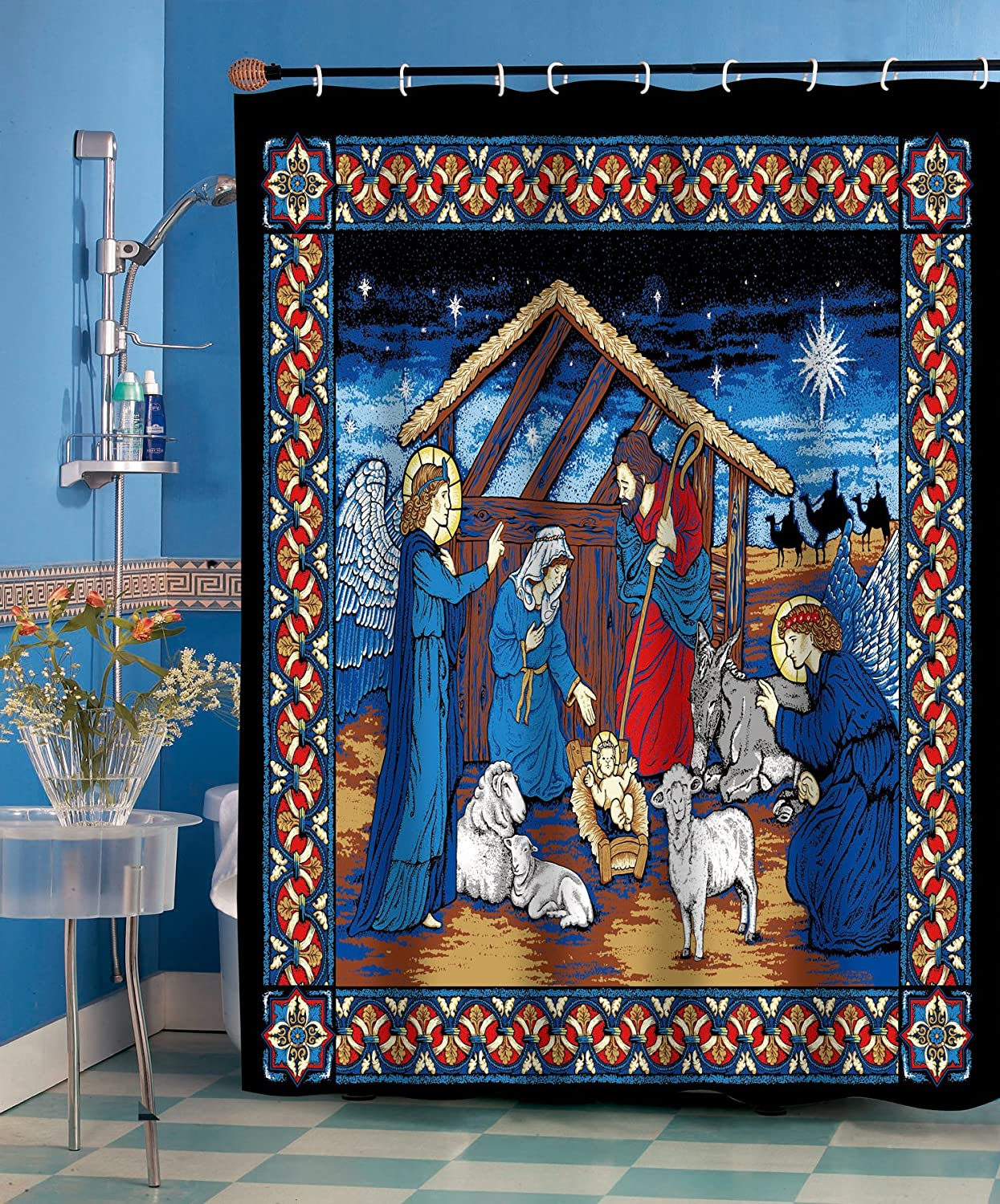 Holy Night Christmas Fabric Shower Curtain Home Bargains