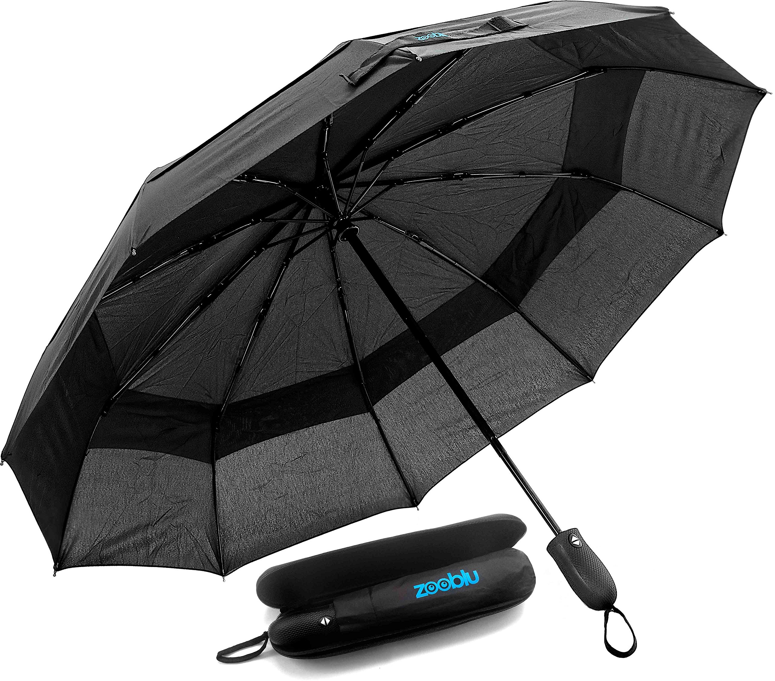 Zooblu WindFarer - Heavy Duty Windproof Travel Umbrella with Case - Auto Open and Close