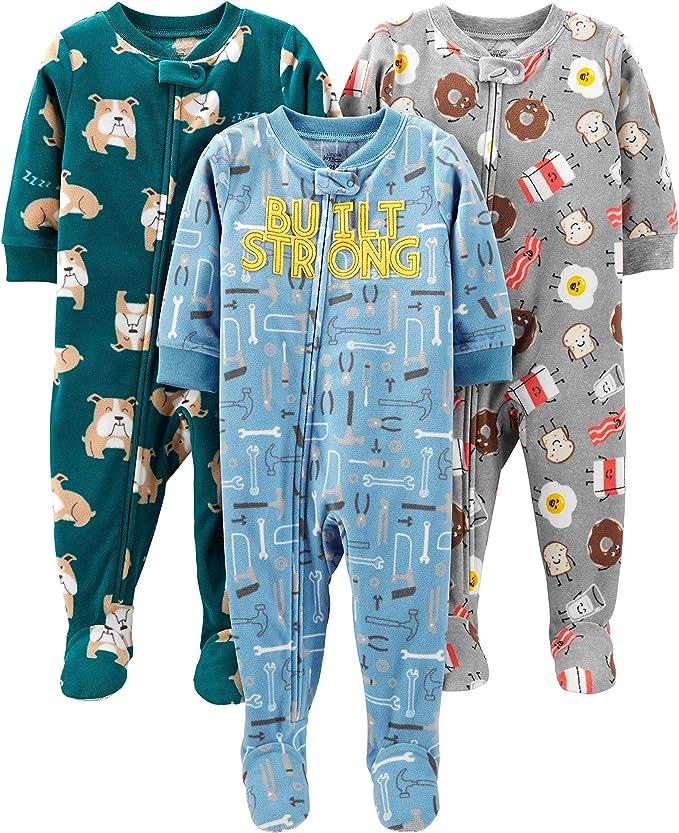 Simple Joys by Carters 3-Pack Loose Fit Flame Resistant Fleece Footed Pajamas Bebé-Niños, Pack de 3: Amazon.es: Ropa y accesorios