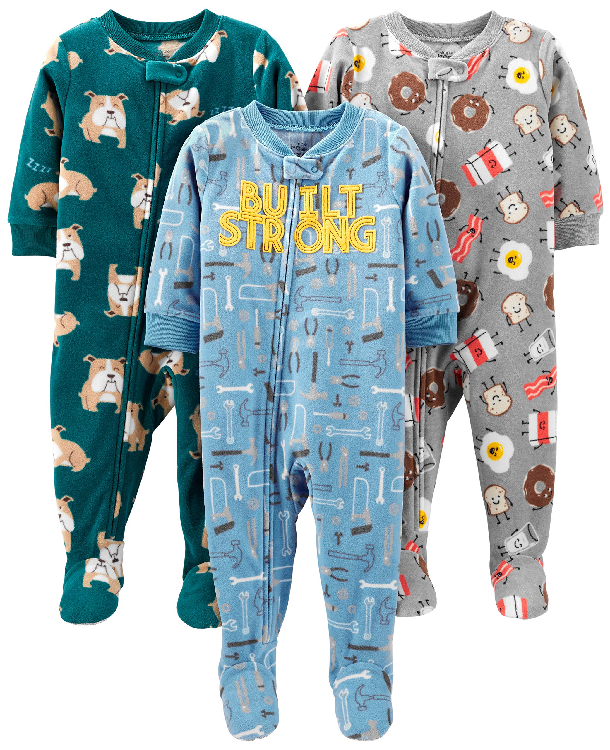 a8bce8060da8 Simple Joys by Carter s Baby and Toddler Boys  3-Pack Loose Fit Fleece  Footed Pajamas
