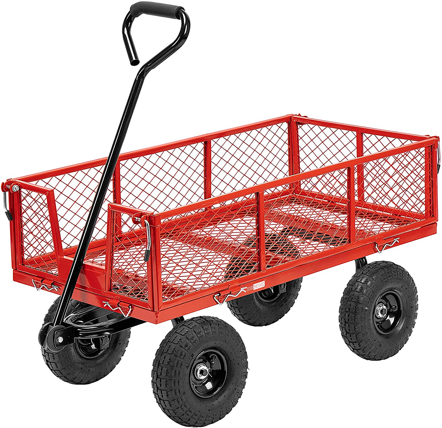 VIVOHOME Heavy Duty 1100 Lbs Capacity Mesh Steel Garden Cart Folding Utility Wagon with Removable Sides and 10 Inch Wheels (Red)