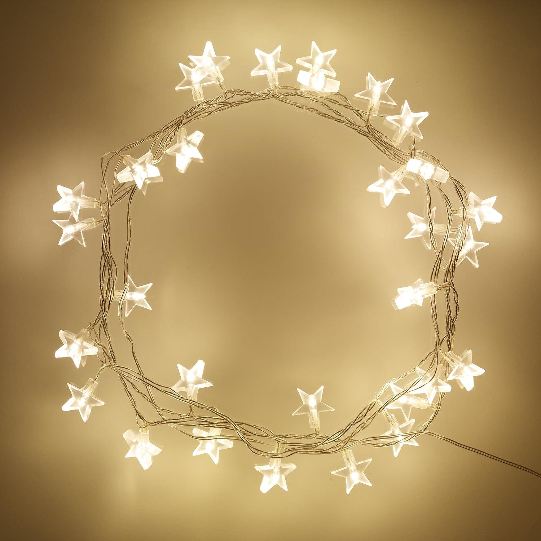 Filo di 30 stelle illuminate a LED di Lights4fun SLF-30-SUN-TYW-EURO