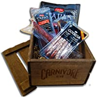 Carnivore Club Gift Crate (Gourmet Food Gift) - 4 to 6 Artisan Cured Meats - Food Basket - Comes in a Handcrafted Wooden Crate - Great with Crackers & Cheese & Wine - Gift for Men & Women