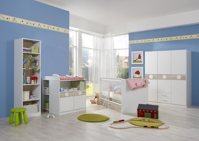 Babyzimmer Komplett Set KIMBA 6tlg Bett Wickelkommode gr. Schrank Regal Eiche-Sägerau