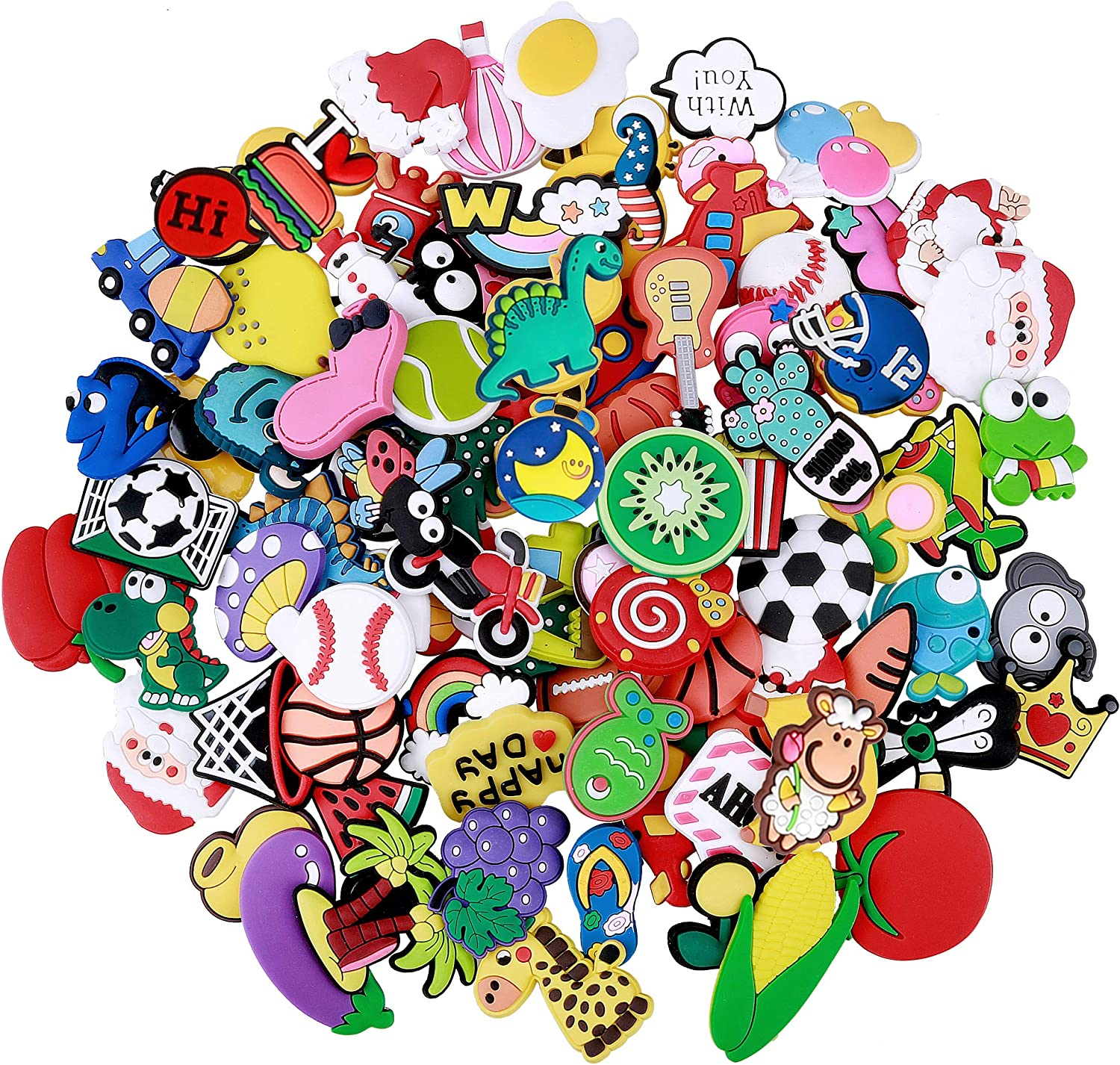 Efivs Arts 100pcs Different Shape Shoes Charms Fits for Clog Shoes & Wristband Bracelet Party Easter Gift