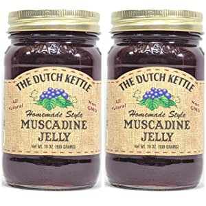 The Dutch Kettle Amish Homemade Style Muscadine Jelly 2 - 19 Oz Reusable Jars All Natural Non-GMO No Preservatives
