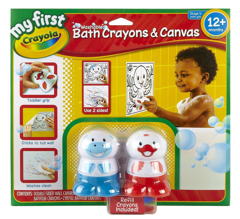 amazoncom crayola my first dual sided bath canvas and crayon set toys games - Crayola Bathroom Crayons