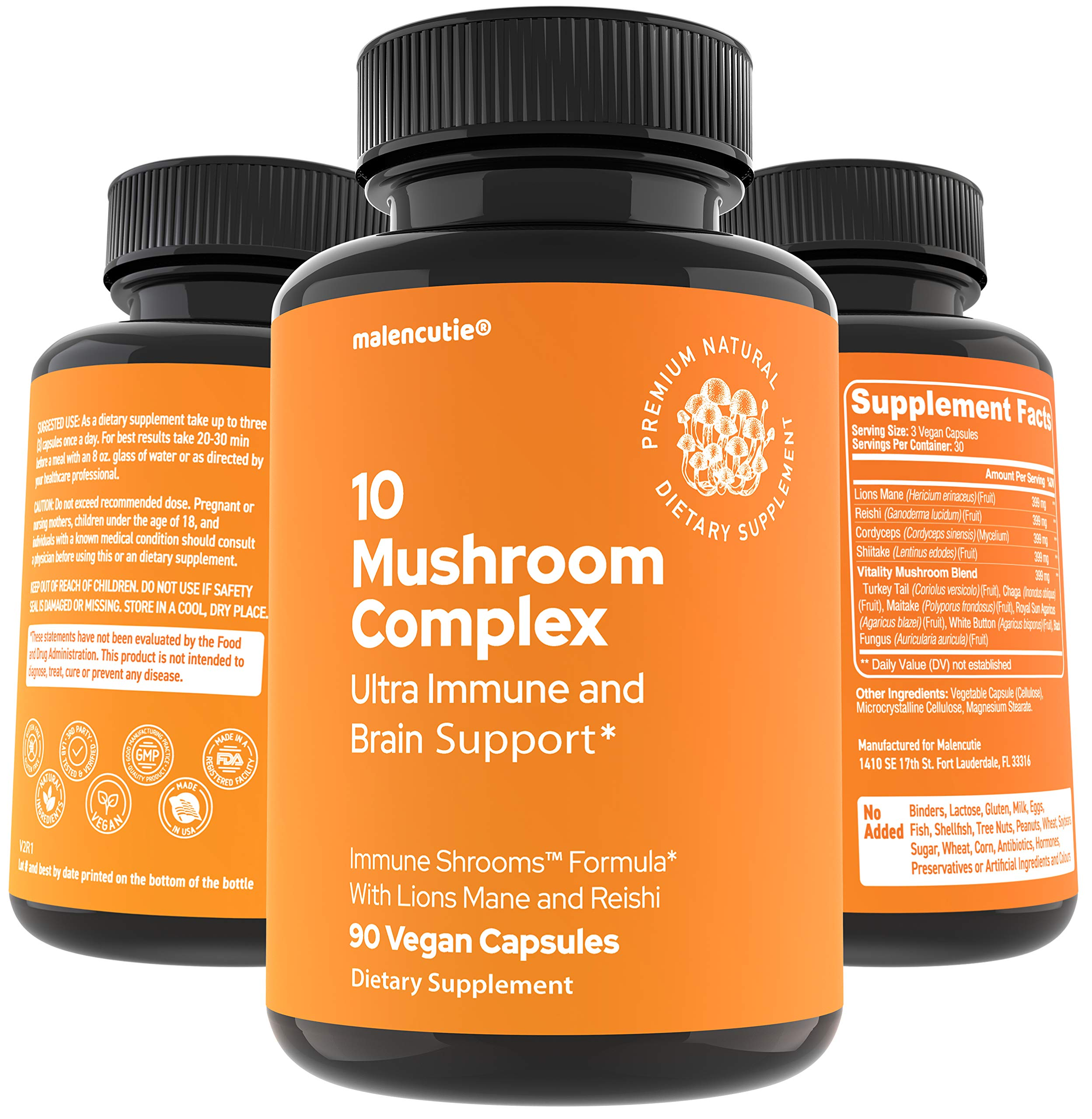 Mushroom Supplement Immunity Energy Booster - 90 Capsules, Brain Supplements, 10 Organic Mushrooms, 2000mg Reishi, Lions Mane, Cordyceps, Shitake, Turkey Tail, Immune Support Complex by Malencutie