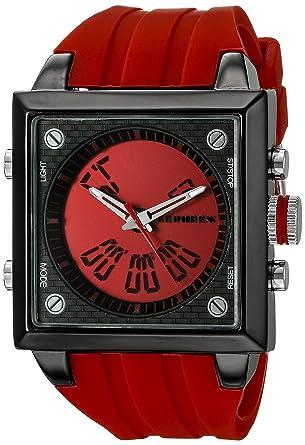 CEPHEUS CP900-644 - Reloj analógico y digital de cuarzo para hombre con correa de silicona, color rojo: Amazon.es: Relojes