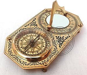 Hanzla Collection Rectangle Brass Garden Sundial & Compass Nautical Maritime Navigation Astrolabe